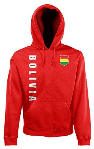 AkyTEX Bolivien Kapuzenpullover Hoody Trikot Wunschname Wunschnummer (Rot, XXL)