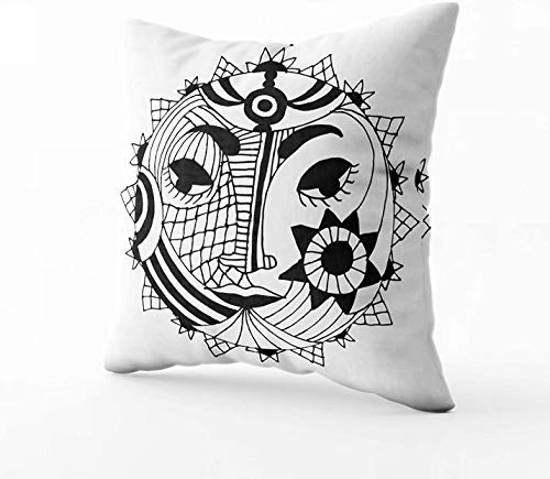 Funda de almohada de 40,6 x 40,6 cm, diseño original de sol y luna, fundas de almohada para sofá, decoración del hogar, dormitorio