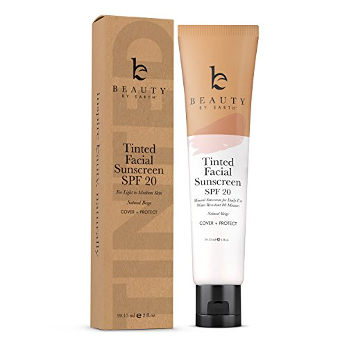 Tinted Facial Sunscreen - DD Cream For Face SPF 20, Sweat and Water Resistant Broad Spectrum UVA & UVB Protection, Mineral Foundation for Skin Tone Correction and Sun Protection, Light Beige (1pk)