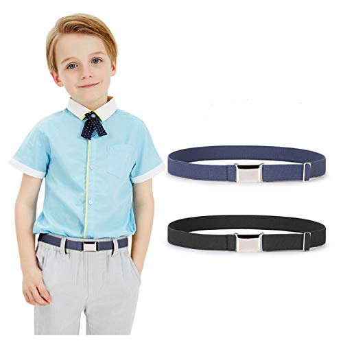 Kids Toddler Belt Elastic Stretch Adjustable Belt for Boys and Girls with Silver Square Buckle 2 Pack by JASGOOD,Black and Blue, Pants Size below 26 Inch