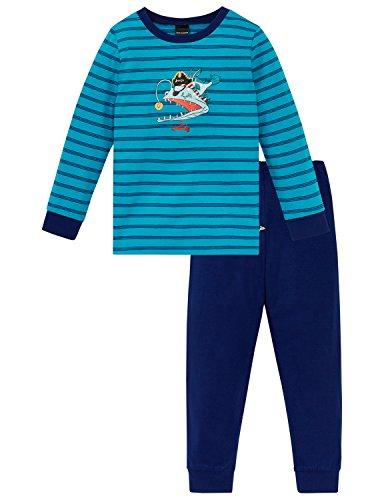 Schiesser Jungen Capt´n Sharky Kn Anzug lang Zweiteiliger Schlafanzug, Blau (Türkis 807), 104