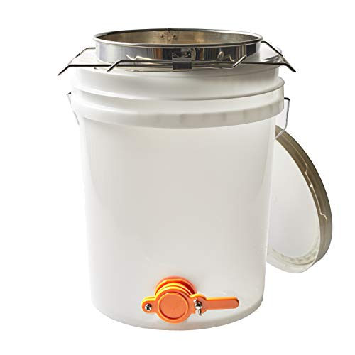 5 Gallon Beekeeping Honey Bucket Made with Food Grade Transparent Plastic, Bottling Valve, Stainless Steel Double Honey Strainer with Course and Fine Metal Filter, and Two Adjustable Mesh Strainers