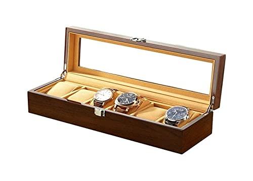 WHZG Caja joyero Caja de Almacenamiento de 6 Ranuras, Reloj de Almacenamiento de Joyas, Organizador de Relojes, Regalos de cumpleaños de Regalos para Hombres y Mujeres Organizador Joyas