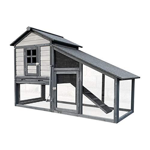 Conigliera XL in legno grigio chiaro 151x66x100cm con recinto e vassoio estraibile per la pulizia