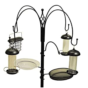 Gardman Complete Wild Garden Bird Feeding Station Kit with 4 Feeders, Black