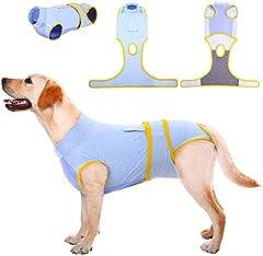 Kuoser Traje de recuperación de perro para tamaño pequeño/mediano/grande, protector de heridas abdominales de gato/enfermedad de la piel, cachorro después de la cirugía