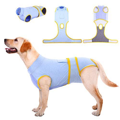 Kuoser Regenerationsanzug für kleine/mittelgroße/große Hunde, Schutz für Bauchwunden und Hauterkrankungen, Schutz für Welpen nach Operationen, E-Kragen-Alternative für Haustiere drinnen und draußen