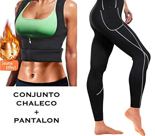 WABISABI DREAMS Chaleco + Pantalon Neopreno Sauna Mujer, Compresion Reductora, Leggins Adelgazantes, Mallas Anticeluliticas Cintura Alta, consigue una Sudoración efectiva en Fitness Negro (L)