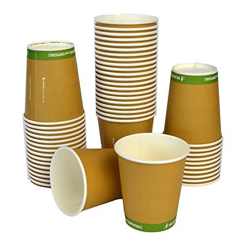 SDG Lot de 50 gobelets thermiques en papier 236 ml (8 oz) biodégradables et compostables pour boissons chaudes comme cappuccino et café