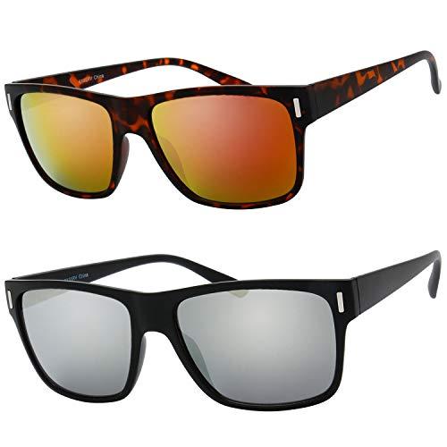 2 Pack Unisex Classic Rectangular Sunglasses for Men Retro UV400 Brand Designer Sun glasses (4-Matte Black/Tortoise, Mirror Silver/Red)