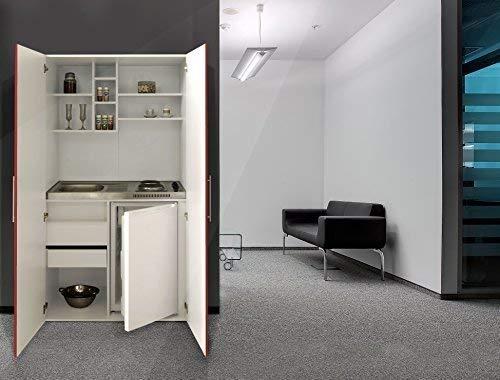 respekta Single Büro Pantry Küche Miniküche Schrankküche weiß Front rot