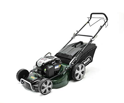 Webb Supreme WER21HW Self Propelled High Wheel Petrol Rotary Lawnmower with 7 Cutting Heights, 53cm Cutting Width and 70L Collection Bag - 2 Year Guarantee