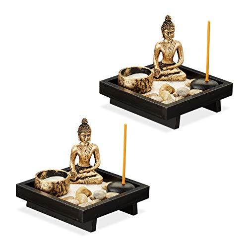 Relaxdays 2 x Zen Garten, mit Buddha, Steinen, Sand, Räucherstäbchen & Teelichthalter, Entspannung, Feng Shui Deko,...