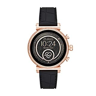 Michael Kors Access Women's Sofie Heart Rate' Stainless Steel Touch-Screen Smartwatch with Silicone Strap, Black, 18 (Model: MKT5069) (B07P7JYR5L) | Amazon price tracker / tracking, Amazon price history charts, Amazon price watches, Amazon price drop alerts
