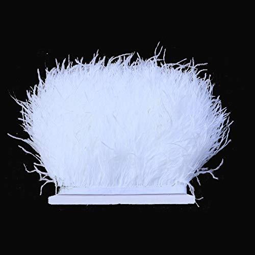 Flecos de plumas de avestruz de 34 colores para hacer sombreros o vestidos blanco