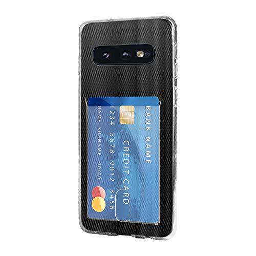 Wormcase ® Kunststoffhülle mit Kartenfach kompatibel mit Samsung Galaxy S10 in der Farbe Transparent - TPU Schale Back-Cover Schutz-Tasche Kratzfest Stoßfest Bumper Crystal-Clear dünn leicht schmal
