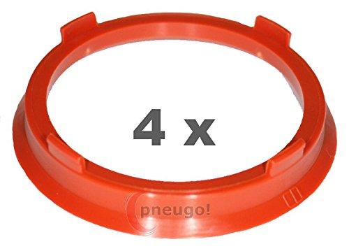 4 x pneugo! Bagues de centrage pour jantes alu 66.6 mm - 57.1 mm