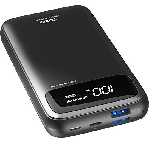 TOZO PB2 Cargador portátil 20000mAh con Pantalla Digital Visible Banco de energía rápida 18W PD Paquete de batería de Carga con Puertos de Entrada duales para iPhone, Samsung y más Negro