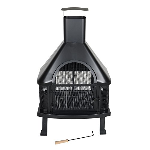 Azuma Kai Outdoor Fire Pit Steel Wood Stove Log Burner BBQ Charcoal Barbecue Chiminea Chimnea Patio Heater Mesh Guard Grate Poker