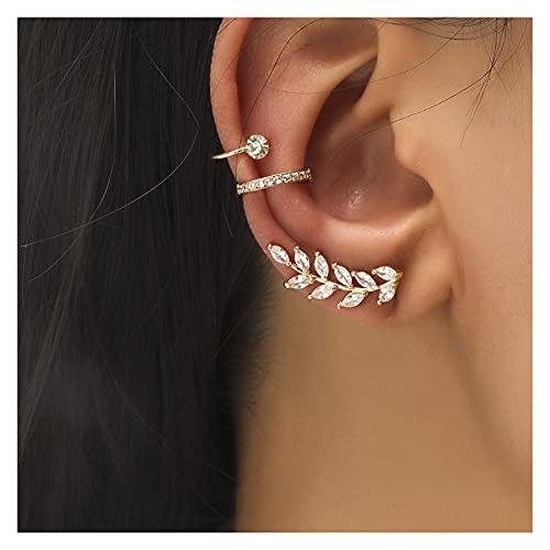 Houren Moda Oro Simple Cross Clip Pendientes para Mujeres Niñas Pearl Cubic Cubic Zirconia Ear Puños Clip sin Piercing Hermosa (Metal Color : 513)