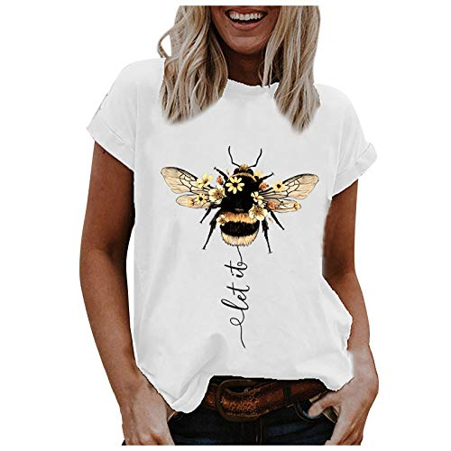 Dosoop Womens T Shirts Casual Crewneck Short Sleeve Cute Bee Happy Letter Graphic Printed Casual Tee Tops Blouse