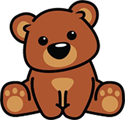 Cute Baby Teddy Bear Cub Sitting Paws Kawaii Animal Cartoon Vinyl Sticker (4' Tall)
