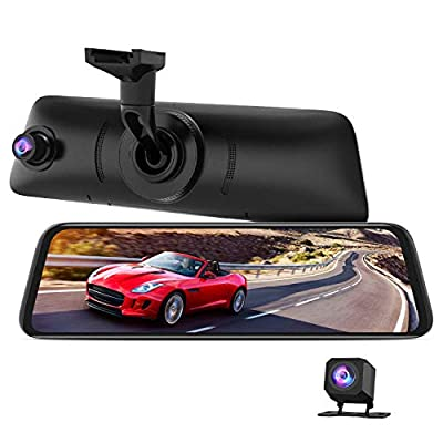 AUTO-VOX V5PRO Anti-Glare Rear View Mirror Dash Cam Front and Rear 1080P Dash Camera for Cars 9.35??Full Laminated Touch Screen and Super Night Vision with Sony Sensor,GPS Tracking