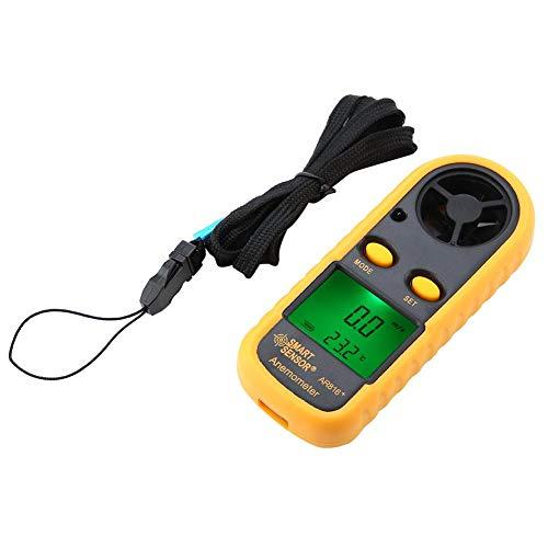 Anemómetro Digital, Walfront Smart Sensor Ar816+ Digital Lcd Anemómetro de Mano Medidor de Velocidad del Viento Medidor de Flujo de Aire Velocidad Probador de Velocidad Termómetro