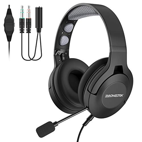 Office Headset with Microphone Over Head Earpiece Trucker Phone Headset Noice Cancelling for Call Center Skype Truck Driver 24Hrs Talktime 3.5mm Connector Mute Switch Controls Stereo Gaming Headset