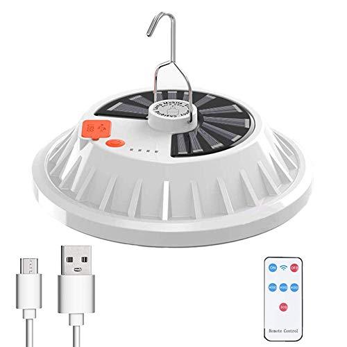 Luz impermeable de la tienda USB Solar Camping luz con control remoto para acampar senderismo corte huracán blanco