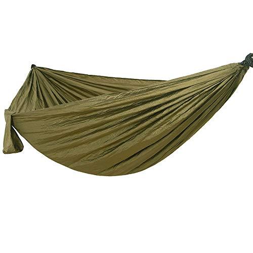 Dewanxin -ImFreien Ultra léger Voyage Hamac de camping Charge maximale 300 kg 100 % nylon respirant Séchage rapide 2 x mousquetons Premium 2 x poignées en nylon 300 x 200 cm Vert Army