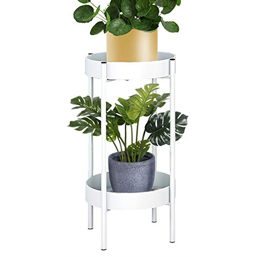 ZEETOON Modern Tall Plants Stand, Orchid Display Rack Potted Plant Holder Gold Metal Shelf 2 Round...