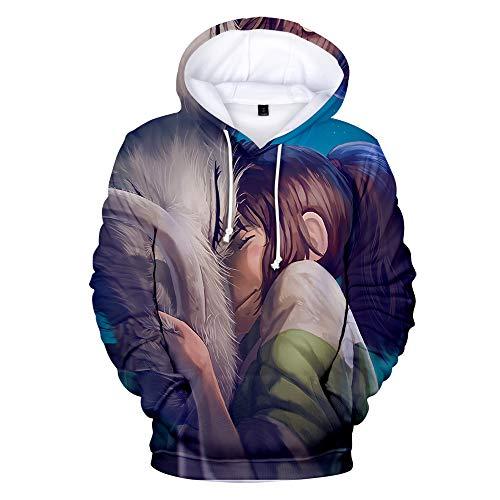 Dsti Sudadera con Capucha Unisex Spirited Away Outdoor Ropa Hoodie Suéter 3D Cosplay Manga Larga Sweater Moda con Bolsillo De Canguro,XL
