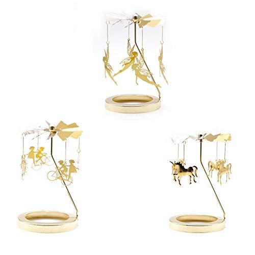 AKlamater Luz de té giratoria, 3 Piezas, candelabro Giratorio Dorado carrusel Molino de Viento de rotación térmica candelabros para Sala de Estar Ceremonia Oficina Comedor, 7.5CM(#1)
