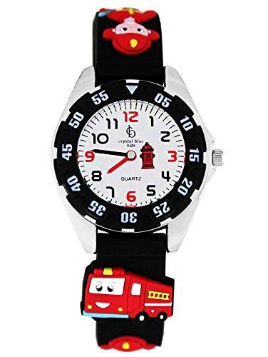 Crystal Blue Kinder-Armbanduhr Feuerwehr Uhr Kinderuhren Jungen Lernuhr Auto Kinderarmbanduhr Cars Analog Quarz schwarz 214481