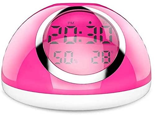 QAZW Lámpara de Escritorio Moderno Minimalista LED Inteligente Sensor de Mano Luz de Despertador Táctil Siete Colores Tiempo Temperatura Humedad Reloj Despertador Pantalla Carga USB Lámpara de,White