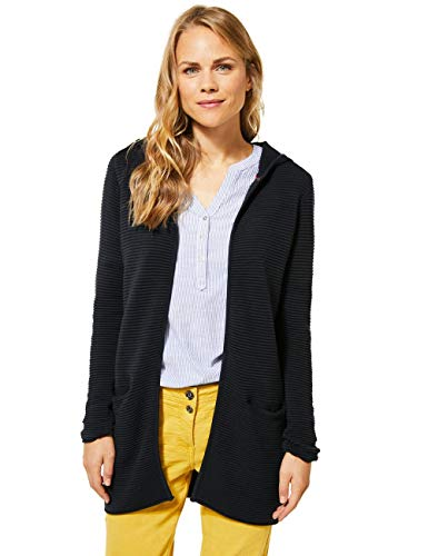 Cecil Damen 253049 Langer Cardigan mit Kapuze Strickjacke, Carbon Grey, X-Large