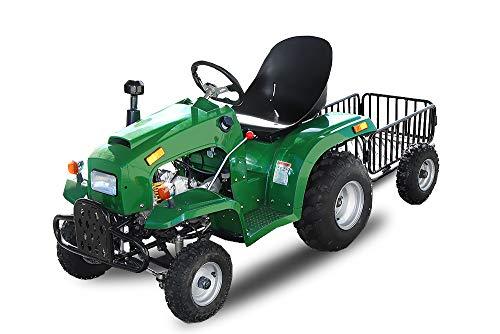 Kindertraktor 110cc 3-Gang Semi Automatik + Rückwärtsgang E-Start Quad ATV Bike Buggy Traktor Midi Kinderfahrzeug (Grün)