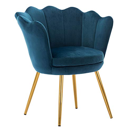 Kmax Living Room Chair, Mid Century Modern Retro Leisure Velvet Accent Chair with Golden Metal Legs, Vanity Chair for Bedroom Dresser, Upholstered Guest Chair - Blue Green