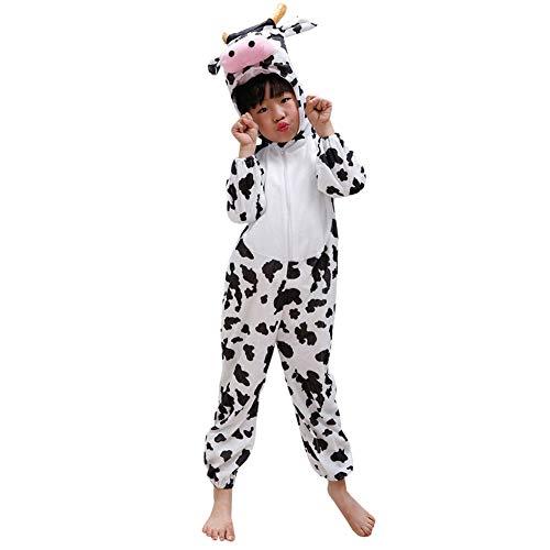 LPATTERN Pijama Animal Entero con Capucha Unisex para Niño Niña Ropa de Dormir Traje de Disfraz para Festival de Carnaval Halloween Cosplay,Vaca,11-12 años