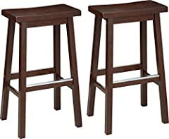 Set of two saddle-seat counter stools with foot rests Sturdy solid wood construction with A-frame design and square legs Contoured saddle-seat provides even weight distribution up to 220 pounds Ideal for counter-height surfaces such as kitchen island...