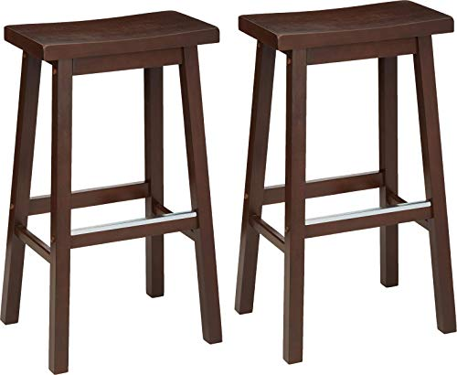 AmazonBasics Classic Solid Wood SaddleSeat Kitchen Counter Stool with Foot Plate 29 Inch Walnut Set of 2