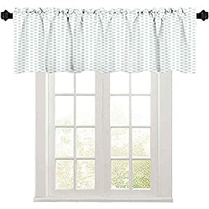 Crib Bedding And Baby Bedding Curtain Valances, Retro Pattern With Polka Dots In Pastel Color Baby Nursery Theme Old Fashioned, Waterproof Window Valance For Bathroom, Mint Green White