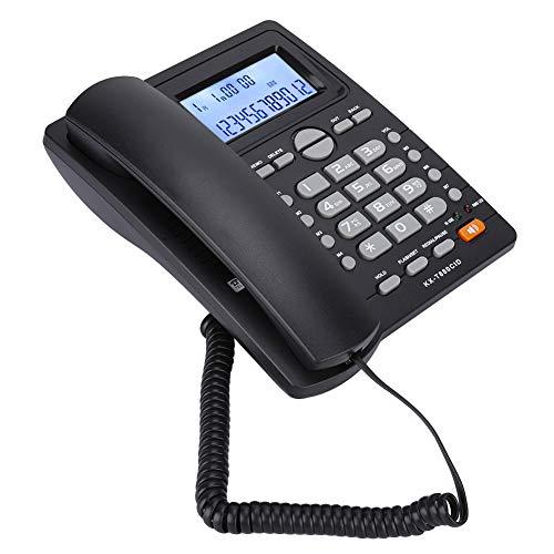 Germerse Juego de extensión de Sonido Claro Teléfono con Cable con identificador de Llamadas Registro de Tiempo de Llamada Teléfono Fijo con Cable para teléfono calculadora(Black)