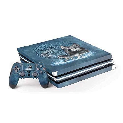 Skinit Decal Gaming Skin Compatible with PS4 Pro Console and Controller Bundle - Officially Licensed Tate and Co. Celtic Wolf Design