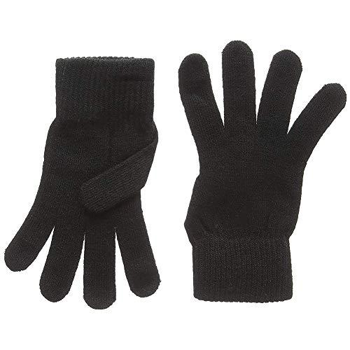 Nicedeal Klassische Winterhandschuhe mit Manschette, einfarbig, warm, gestrickt, dicke Handschuhe für Erwachsene, Schwarz, 1 Paar Damen-Schmuck, Accessoires, Neuheit Schmuck, Halloween-Geschenke