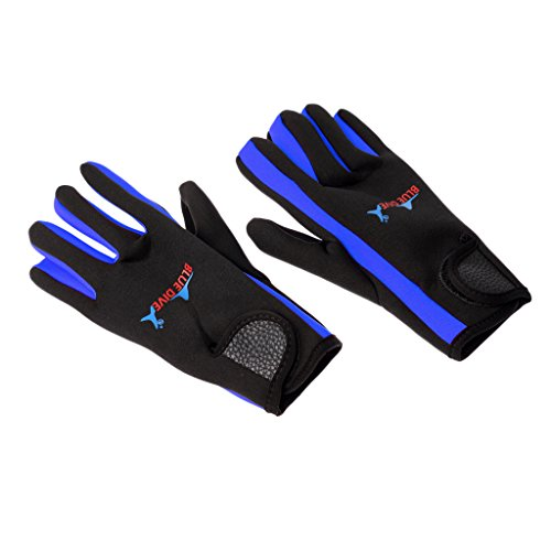 MagiDeal 1 Pair 1.5mm Neoprene Elastic Comfortable Keep Warm Anti-Slip Gloves for Men Women Scuba Diving Surfing Winter Swimming - Blue and Black, S
