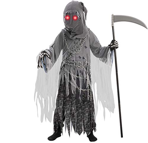 Child Unisex Glowing Eyes Soul Taker Reaper Costume (Large(10-12 yr))