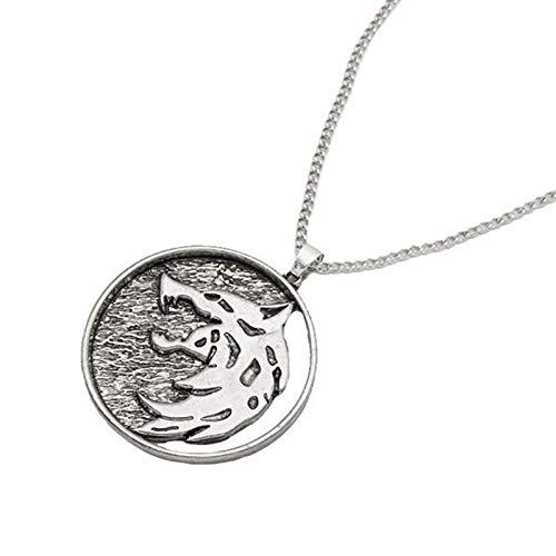 MINTUAN Medallón de TV Collar de Lobo Cadena Geralt Rivia Colgante Cosplay Juego de Joyas Wizard 3...