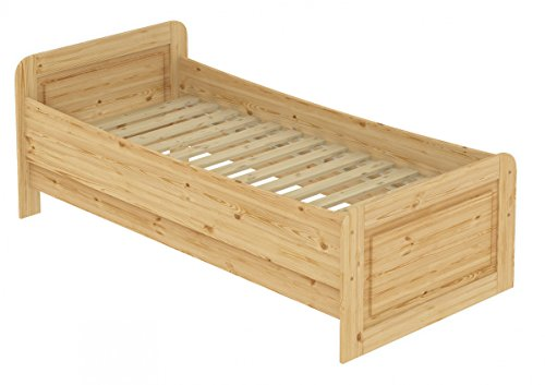 Erst-Holz® Seniorenbett extra hoch 100x200 Einzelbett Holzbett Massivholz Kiefer Bett mit Rollrost 60.42-10